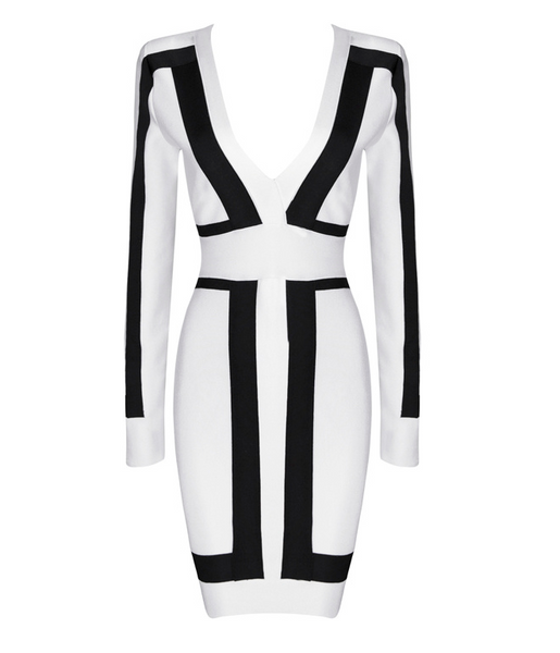 Black and White Deep V Neck Mini Bandage Dress