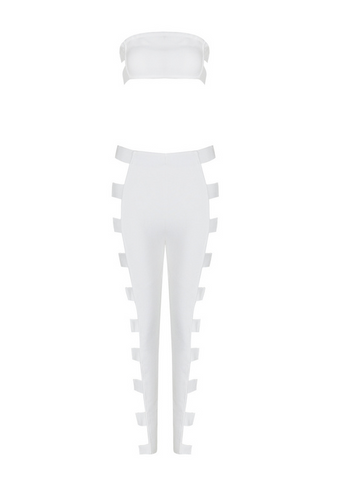 Slay Accessories. White bandage pants set accented with gold tone metal buckles.