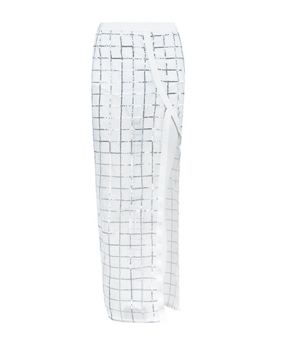 Slay Accessories. White shimmer bodycon bandage maxi  skirt.