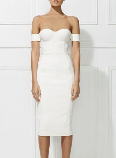 White Arm Band Fitted Dress