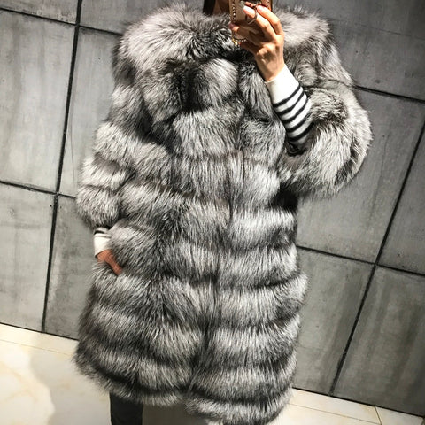 Louie Silver Fur Coat