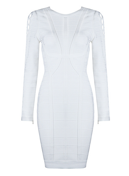 Slay Accessories. White cut out bandage mini dress. Long sleeve white bandage mini dress.