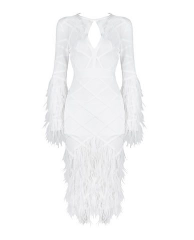 Slay Accessories. White bandage mesh feather midi dress.