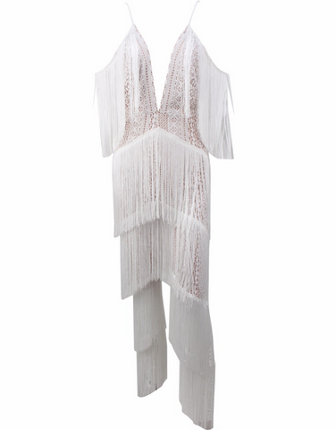 Slay Accessories. White off the shoulder fringe jumpsuit.