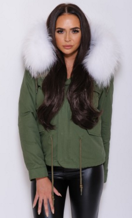 Slay Accessories. Fur parka jacket. White fur collar parka coat.