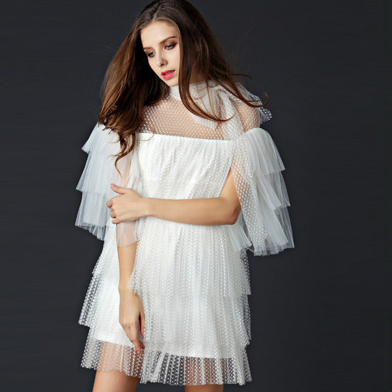 Chrissie White Sheer Ruffle Mini Dress