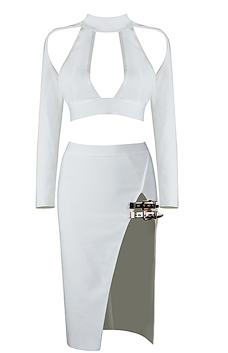Slay Accessories. White bandage dress set. White bandage crop top and matching pencil skirt.