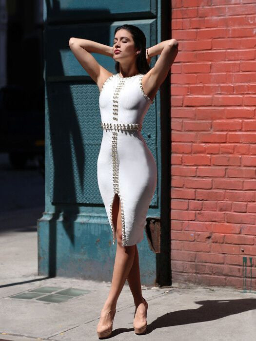 Kimmie White Embellished Bandage Dress
