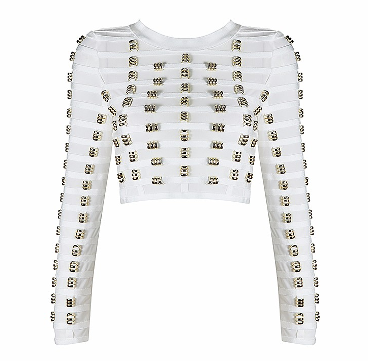 Slay Accessories. White gold metal embellished crop top. Long sleeve crop top.