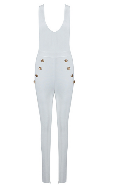 Slay Accessories. White bandage jumpsuit. Sleek and stylish white bodycon jumpsuit with gold button accents.