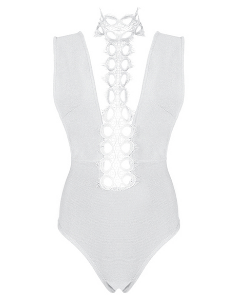 Slay Accessories. White bandage and choker neck lace bodysuit.