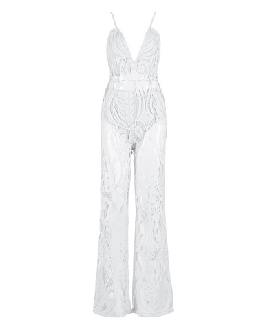 Slay Accessories. White lace wide leg jumpsuit.