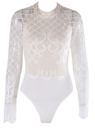 Slay Accessories. White sheer lace bodysuit top. Mesh and lace bodysuit top.