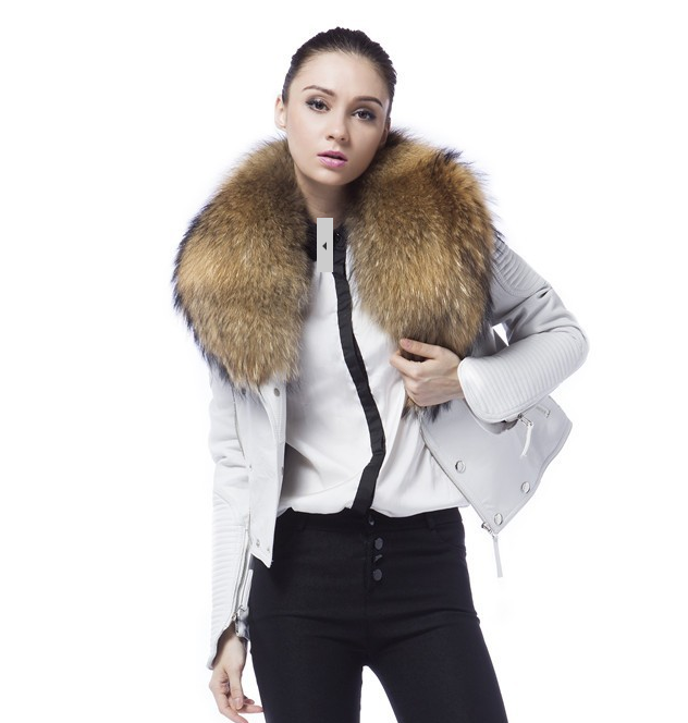 Danny Joe White Leather Fur Collar Jacket