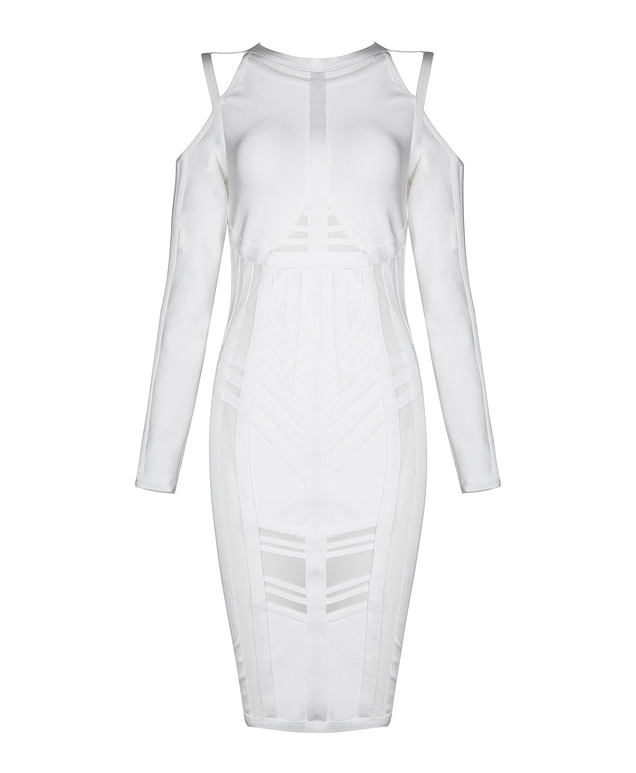 Slay Accessories. White cold shoulder bandage midi dress.