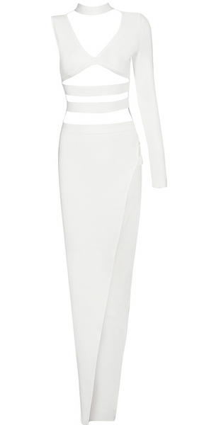 Nya White Cut Out Bandage Maxi Dress