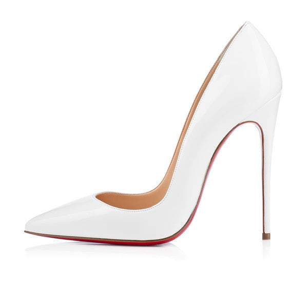 Cindy White Patent Leather Pumps