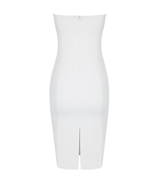 Slay Accessories. White strapless bodycon dress with silver metal grommets.