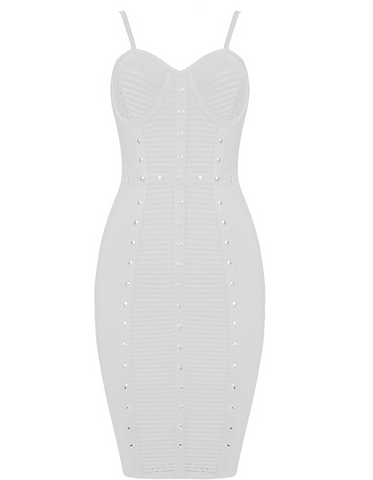 Slay Accessories. White green studded bandage dress.