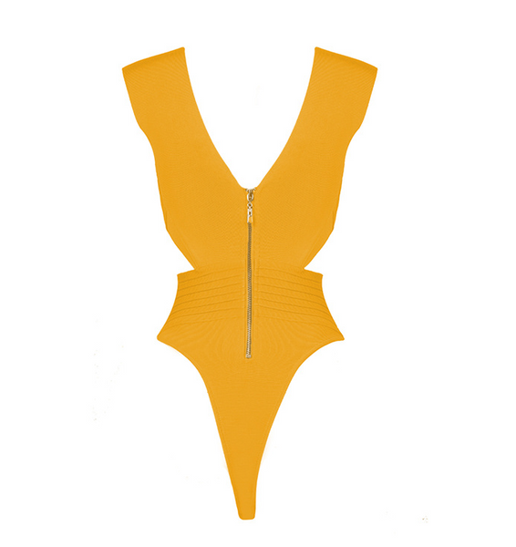 Slay Accessories. Yellow bandage bodysuit with criss cross design.