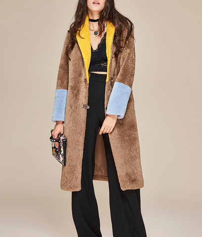 Slay Accessories. Designer style color block shearling coat.