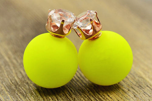 360 Double Side Crystal Post Pearl Frosted Matte Stud Earrings Color Mix