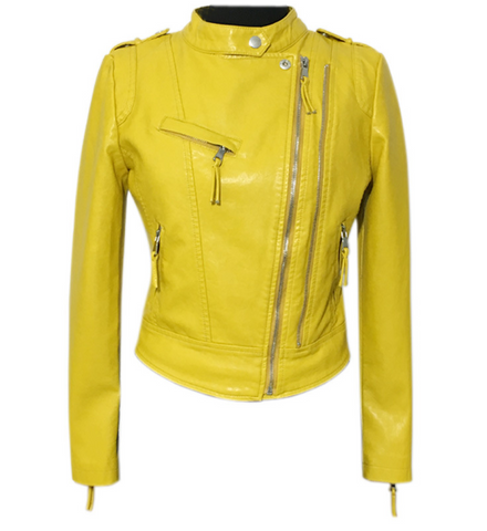 Slay Accessories. Yellow vegan leather biker jacket. Faux leather motorcycle jacket.
