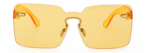 Slay Accessories. Designer style yellow rimless sunglasses.