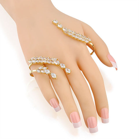 Gold Zircon Palm Ring