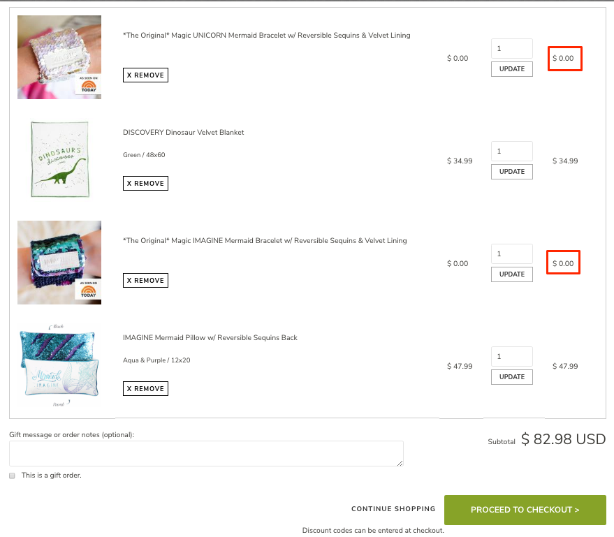 Example Screenshot of Bracelets in Shopping Cart