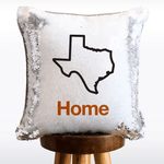 Home Sweet Texas Mermaid Pillow w/ Silver & White Sequins