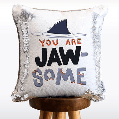 Jaw-some Shark Mermaid Pillow w/ Silver & White Sequins (2-Sided and Includes Hypoallergenic Insert!)