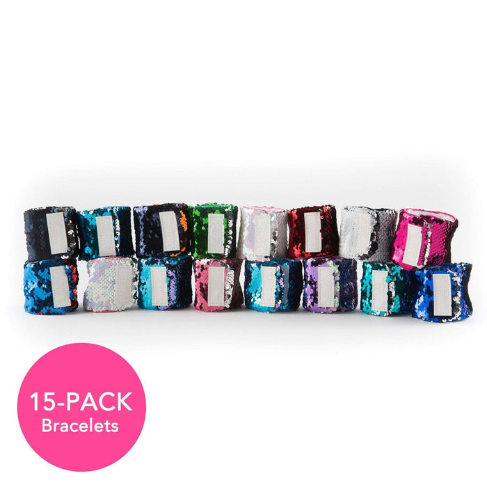 15 PACK VELCRO BRACELETS - BEST VALUE:  Great for Camp, Classroom, or Birthdays - Mermaid Pillow Co