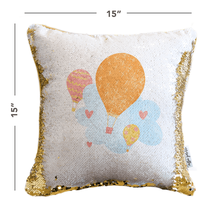 Balloons Mermaid Pillow w/ Reversible White & Gold Sequins