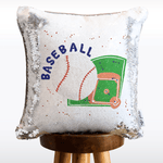 Baseball Mermaid Pillow with White & Silver Reversible Flip Sequins