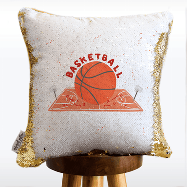 Basketball Mermaid Pillow with White & Gold Reversible Flip Sequins - COVER ONLY (Inserts Sold Separately)