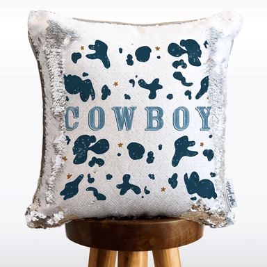 Cowboy Mermaid Pillow with White & Silver Reversible Flip Sequins