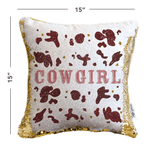 Cowgirl Mermaid Pillow Cover with White & Gold Reversible Flip Sequins