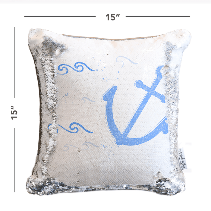 Nautical Anchor Mermaid Pillow w/ Reversible White & Silver Sequins