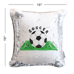 Soccer Mermaid Pillow with White & Silver Reversible Flip Sequins