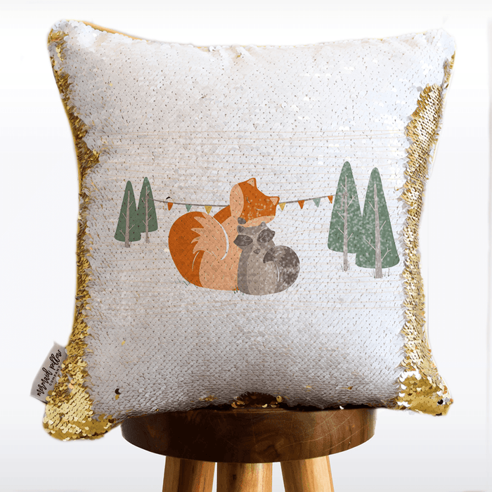 WOODLANDS Mermaid Pillow w/ Reversible White & Gold Sequins