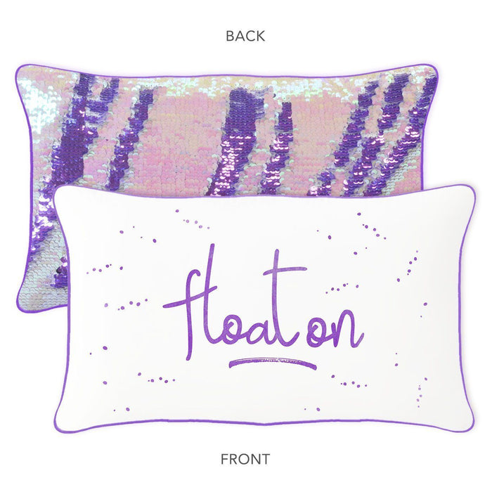 Float On Mermaid Pillow with Purple & Iridescent Reversible Sequins - Mermaid Pillow Co