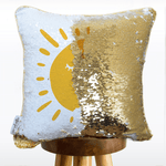 You are My Sunshine Mermaid Pillow w/ Gold & White Sequins