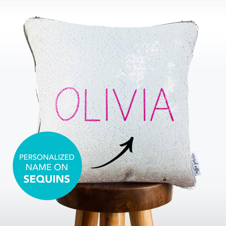 PERSONALIZED Mermaid Pillow w/ Silver & White Sequins (2019 edition)