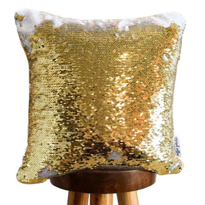 Adorable Bunny Decorative Kids Pillow w/ Reversible Gold and White Sequins