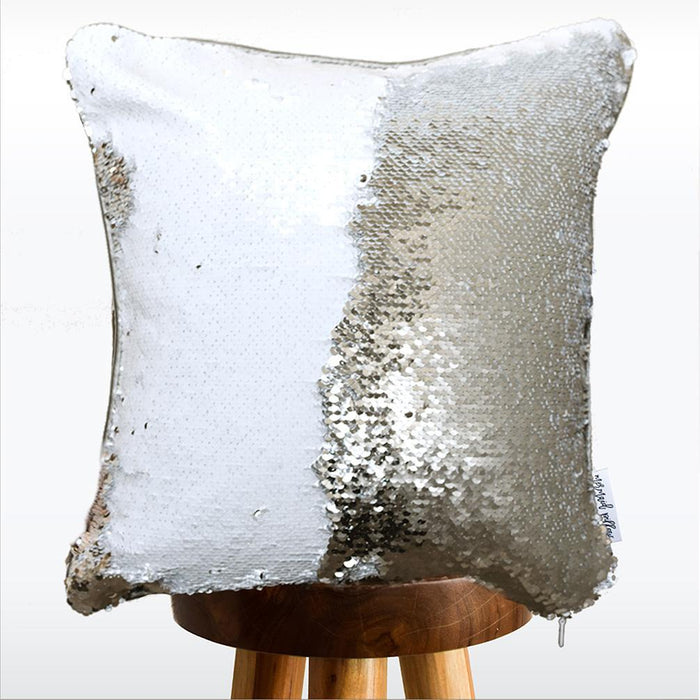Distressed Stripe Pattern Decorative Throw Pillow Cover w/ Silver & White Reversible Sequins