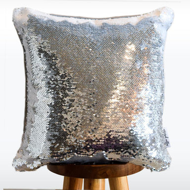 Baseball Mermaid Pillow with White & Silver Reversible Flip Sequins - COVER ONLY (Inserts Sold Separately)