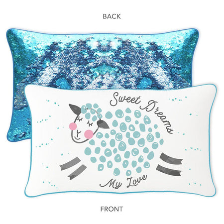 SWEET DREAMS Sheep Mermaid Pillow w/ Reversible Lake Blue & Silver Sequins - Mermaid Pillow Co