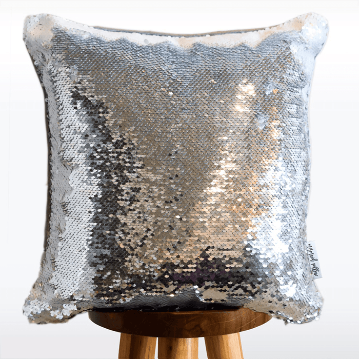 Jellyfish Wish Mermaid Pillow w/ Silver & White Sequins (Includes Hypoallergenic Insert!)