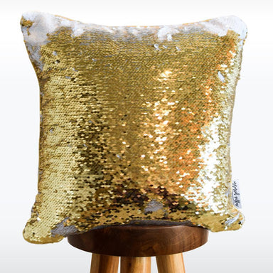 Mr. & Mrs. Hand Drawn Calligraphy Decorative Throw Pillow w/ Gold & White Reversible Sequins